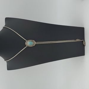 Faux Turquoise Bolo Necklace